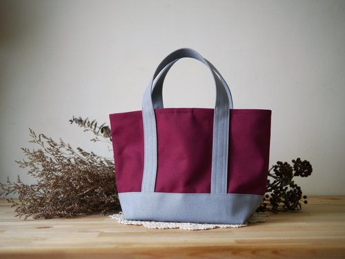 Classic tote bag Msize (short band) wine x gray - burgundy x gray -