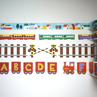Railway Series masking tape Combo Pack(4 in one) : Railway + Train + Letter train + Street houses