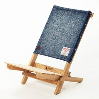 A.NATIVE outdoor camping picnic ground wooden folding chair / Harris wool / Blue