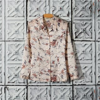 / Ringo Dream / glitter flowers silk satin shirt vintage vintage feel