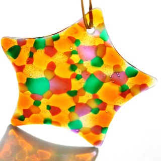 Colorful Bubbles Orange Green Glass Star Light Catcher・Unique Friendship Gift