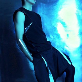 Leggings Taiwanese designer brand men's avant-garde fashion design plain black Lycra