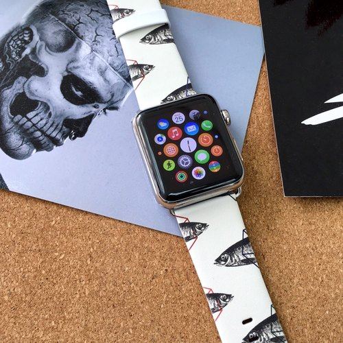 Apple Watch Series 1 ,Series 2 and Series 3  - Apple Watch Series 1 and Series 2 - Vintage Fish Brown Pattern Printed on Genuine Leather for Apple Watch Strap Band 38 / 42 mm - 31