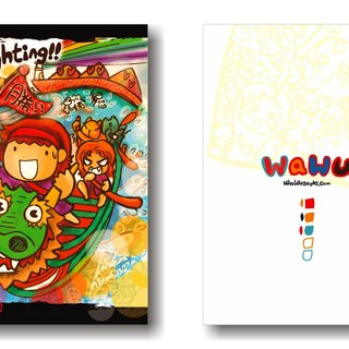 WaWu Go Fighting !! fight card / painted / homemade postcards / limited edition handmade card