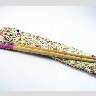 "Cheerful. ""Portable chopsticks sets / green chopsticks / chopsticks / tableware"" blooming flowers"