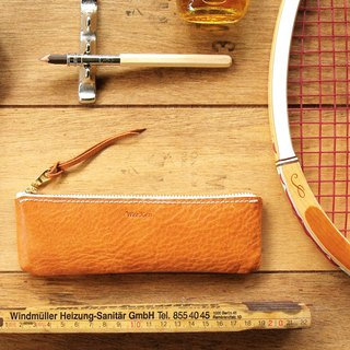Leather Pen Case ( Custom Name ) - Classic Tan