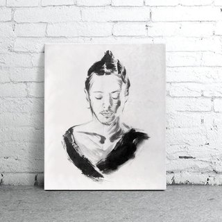 custom portraits - Chinese ink painting - BEING YOURSELF- now-Easy Gallery Wrap
