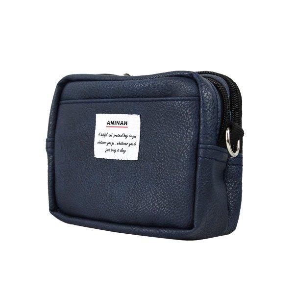 AMINAH-藍色皮革兩用隨身小包(小) 腰包/肩背包【am-0266】
