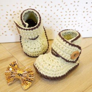 Handmade knit baby shoes - Pastel barreled shoes (light green)