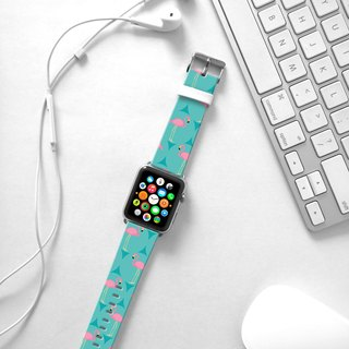 Apple Watch Series 1 , Series 2, Series 3 - Turquoise Flamingo Pattern Watch Strap Band for Apple Watch / Apple Watch Sport - 38 mm / 42 mm avilable
