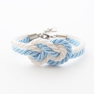 Blue and white infinity knot nautical bracelet