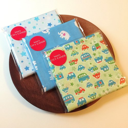 [For Baby Boy] 4 layers of Japan gauze towel / Face Washers / Handkerchiefs / Wipes (1 set of 3 pieces)