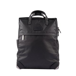 After Herry L. waterproof canvas leather backpack - black fog