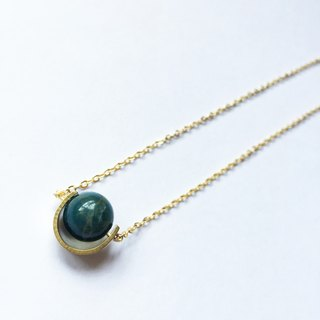 Apatite Crystal  Drak green Necklace