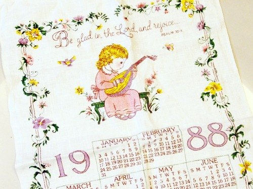 Early American Calendar Girl 1988 Canvas Designer Pickers Pinkoi