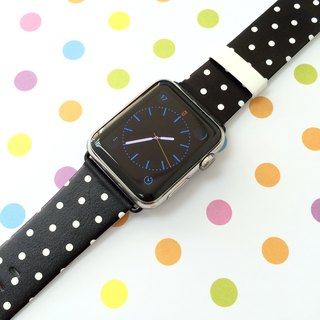 Apple Watch Series 1 , Series 2, Series 3 - Black Polka Dots Watch Strap Band for Apple Watch / Apple Watch Sport - 38 mm / 42 mm avilable