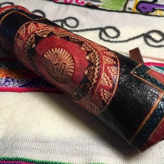 Hand dyed leather pencil case - Leather imprinted Totem - Sun Hung