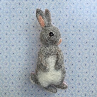 Gray rabbit - hand-made wool felt pins