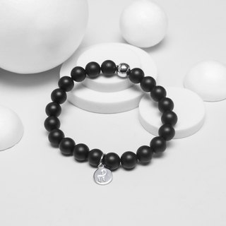 Matte 8MM - Natural Beaded Bracelet (Black)