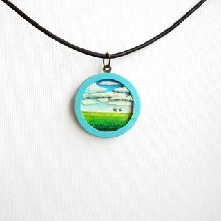 Sky and grassland handmade multi-layer carpentry woodworking pendant necklace Free shipping