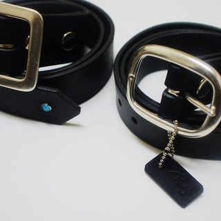 Hand-made black imported Italian leather belt full of vegetable dyes