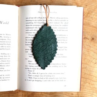Leather leather - travelers bookmarks / strap / card (leather dark green) - free custom English name / Sentence typewriting service