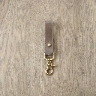 "Unique "" ceramic gray "" x brass heavy leather style leather key chain"