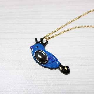 Lucky bird enamel diamond necklace (blue black) left a