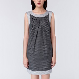 WD Ana Dress black white dot dress pocket