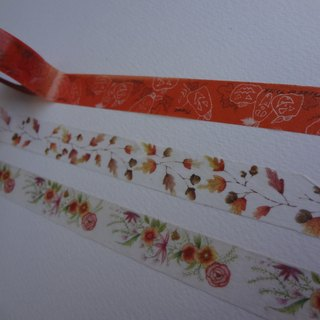 Hand-painted watercolor illustration autumn series paper tape - a group 3