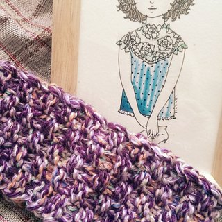 Lan hand knit headband for the summer (purple)