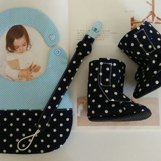 Little blue baby boots births gift + bibs + Pacifier chain
