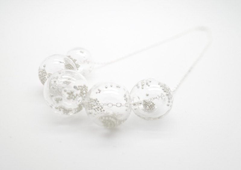 Simple transparent glass beads sterling silver necklace idea Bubble