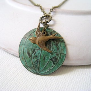 Around the world. Distressed Earth bronze copper, bronze birds fly necklace
