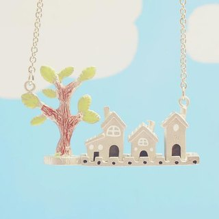 Handmade Tiny Houses Necklace, Handmade Little Houses Necklace, House & Tree