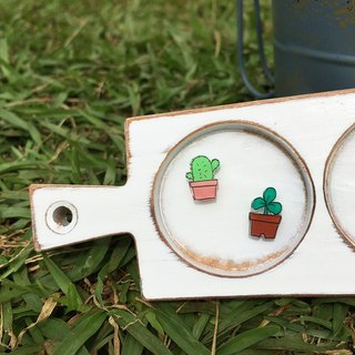 ◤ grass cactus painted earrings - Allergy needle / ear clip-on can be changed / couple into