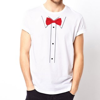 Print Bow Tie-Red T-shirt - white printing red tie necktie glasses beard Wen Qing art design fashion fashionable word