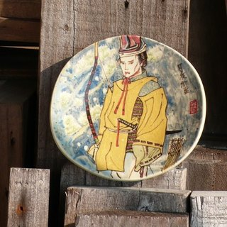 Japanese Ukiyo-e ˙ ˙ moonlit snow Hand-made ornaments painted pottery plate