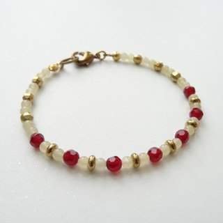 ::A Pinch of Glitter:: Red Agate, Yellow Jade Beaded Brass Bracelet (B)