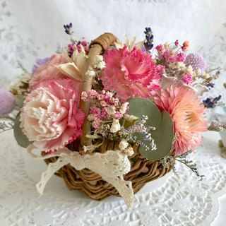 Masako Carnation Fun Flower Basket Dry Flower Ceremony Mother's Day Gift With Beautiful Small Card Limited