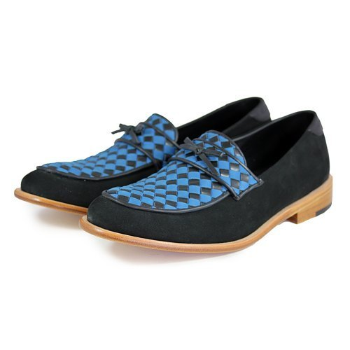 Sweet Villians M1096AA 手工真皮編織樂福鞋 藍色