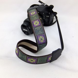 Camera strap can print personalized custom leather stitching national wind embroidery pattern 034