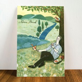 "Watercolor illustration postcard-""Natural Break"""