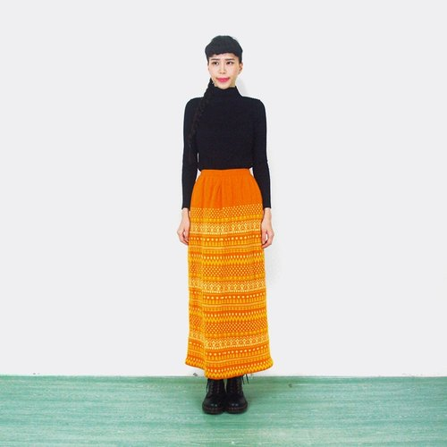 (Special) thick orange knit vintage high waist skirt AI2015