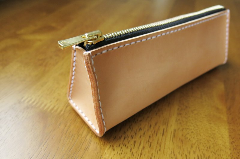 Wenfangbao pencil case primary color vegetable tanned leather. Hand-stitched [Jane One Piece]