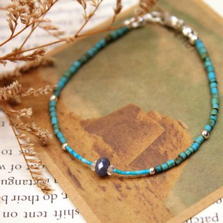 Journal (White Sea logs) - Ephemera / silver, natural sapphire, turquoise bracelet Bracelets
