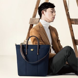 【ADOLE】 Triumph long tote bag - navy blue