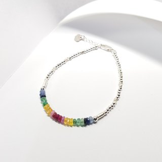 [ColorDay] Rainbow Love 925 sterling silver Corundum Bracelet