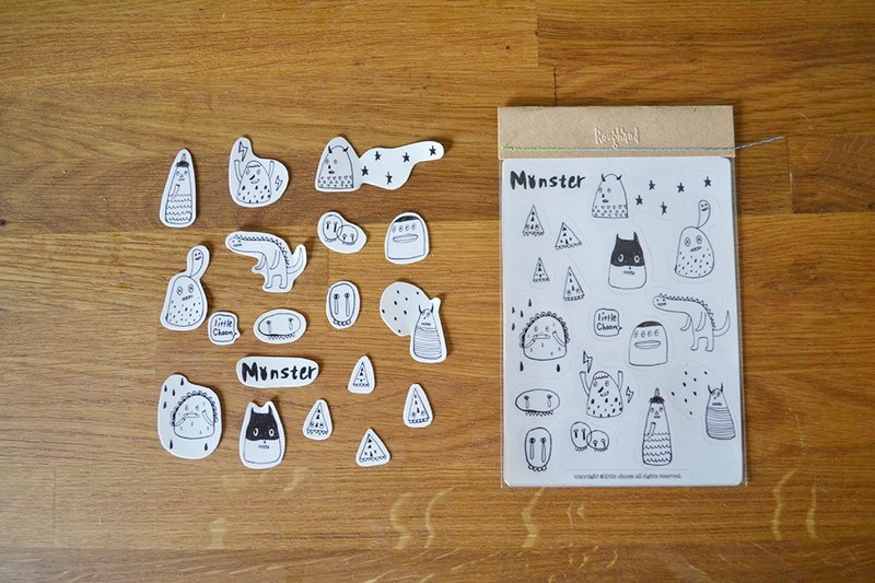 ✭Roughand x little choom Monster Sticker Little Monsters Stickers (transparent black and white)