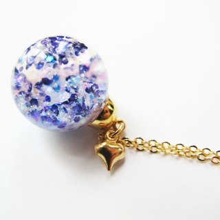 Rosy Garden purple and white glitter with water inisde glass ball necklace